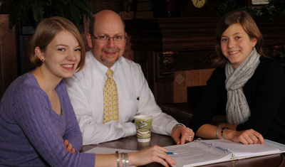 President Smith with two of his daughters.