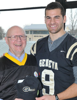 Dean Smith, chapel coordinator, with Daniel Sepulveda, Pittsburgh Steelers punter