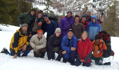 Professor Doug Bradbury with students on a trip to Wyoming