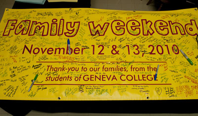 Banner from Family Weekend 2010