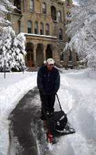 Dr. Mike Loomis clearing the way to Old Main