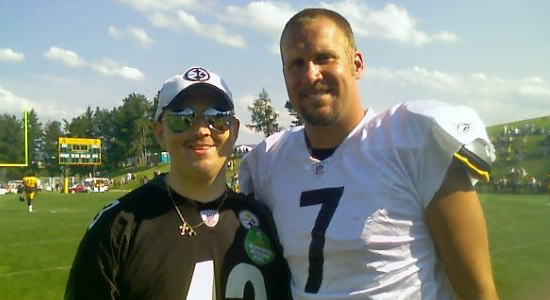Geneva student Brandon Lewis poses with quarterback  Ben Roethlisberger at the Steelers' training camp this summer.