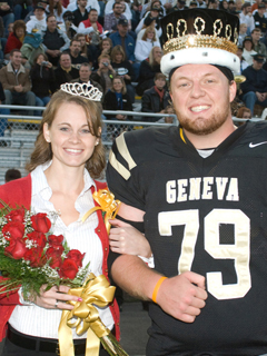 Homecoming queen Lindsay Moore and king Alex Shaver