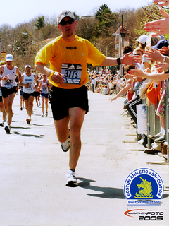 Brian Yowler runs in the Boston Marathon