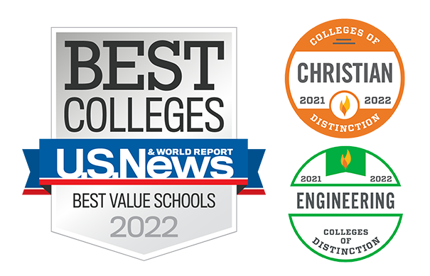 Badges of Distinction, U.S. News and World Report Best Value, Top 100 National Engineering Programs, Christian College of Distinction