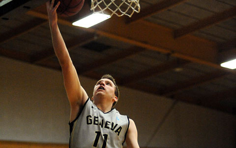 Geneva stuns top-seeded Bethany 61-59; Grim's layup with 17 seconds left is the winner